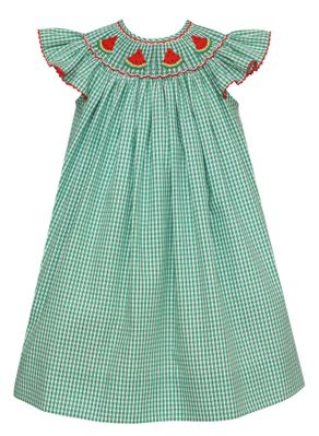 Anavini Velani Baby / Toddler Girls Green Check Smocked Watermelons Bishop Dress