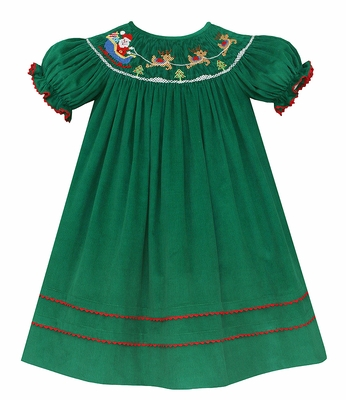 54454625a Anavini Baby   Toddler Girls Green Corduroy Smocked Santa Sleigh ...