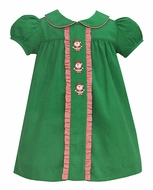 Anavini Baby / Toddler Girls Green Corduroy Ruffle Pleat Float Dress with Santa Claus
