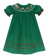 Anavini Baby / Toddler Girls Green Corduroy Smocked Santa Sleigh Bishop Dress