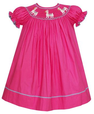 Anavini Baby / Toddler Girls Hot Pink Smocked Llama Bishop Dress