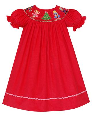 Anavini Baby / Toddler Girls Hot Pink Corduroy Smocked Nutcracker Dress - Bishop