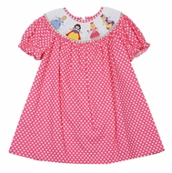 Anavini Baby / Toddler Girls Hot Pink / White Dots Smocked Princess Dress