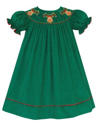 Anavini Baby / Toddler Girls Kelly Green Corduroy Smocked Christmas Reindeer Dress - Bishop