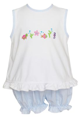 Anavini Baby / Toddler Girls Light Blue Check Seersucker Under the Sea Embroidered Cross Back Bloomers Set