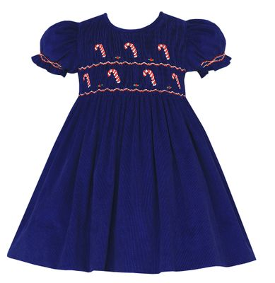 Anavini Baby / Toddler Girls Navy Blue Corduroy Smocked Candy Canes Float Dress