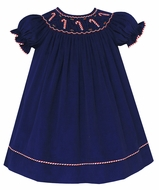 Anavini Baby / Toddler Girls Navy Blue Corduroy Smocked Candy Canes Dress - Bishop