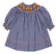 Anavini Baby / Toddler Girls Navy Blue Gingham Smocked Thanksgiving Turkeys Dress - Long Sleeves