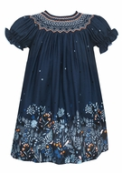Anavini Baby / Toddler Girls Navy Blue Twill Smocked Dress - Fall Floral Print Border