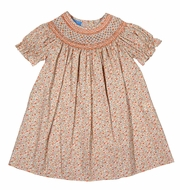 Anavini Baby / Toddler Girls Orange Liberty Fall Floral Smocked Bishop Dress
