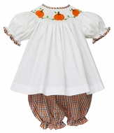 Anavini Baby / Toddler Girls Orange Plaid Smocked Pumpkins Bloomers Set
