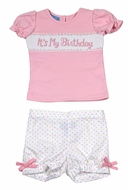 "Anavini Baby / Toddler Girls Pastel Polka Dots Shorts with Pink Smocked ""It's My Birthday"" Top"