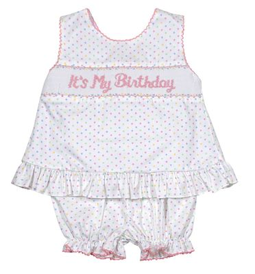 "Anavini Baby / Toddler Girls Pastel Polka Dots Smocked ""It's My Birthday"" Bloomers Set - Bow on Back!"