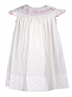 "Anavini Baby / Toddler Girls Pastel Polka Dots Smocked ""It's My Birthday"" Dress"