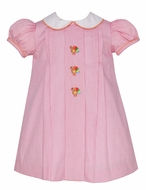 Anavini Baby / Toddler Girls Pink Check Embroidered Turkeys Float Dress with Collar