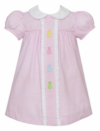 Anavini Baby / Toddler Girls Pink Check Seersucker Cottontail Bunny Dress