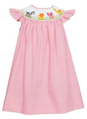 Anavini Baby / Toddler Girls Pink Check Seersucker Smocked Safari Zoo Animals Dress