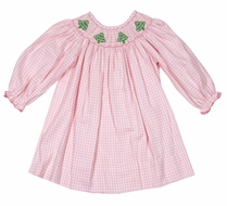Anavini Baby / Toddler Girls Pink Check Smocked Christmas Trees Dress - Long Sleeved Bishop