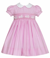 Anavini Baby / Toddler Girls Pink Check Smocked Easter Bunnies Float Dress