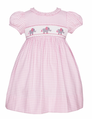 Anavini Baby / Toddler Girls Pink Check Smocked Elephants Dress - Short Sleeves