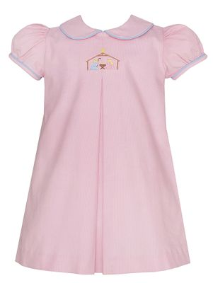 Anavini Baby / Toddler Girls Pink Corduroy Nativity Manger Scene Dress