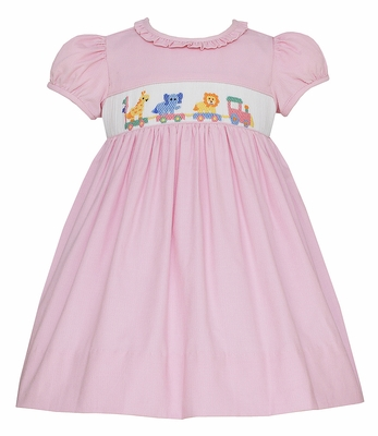 Anavini Baby / Toddler Girls Pink Corduroy Smocked Toy Animal Train Dress - Ruffle Neck