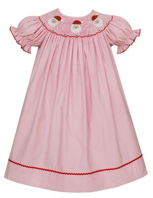 Anavini Baby / Toddler Girls Pink Corduroy Smocked Santa Claus Dress - Bishop