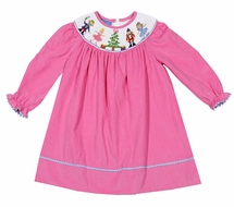 Anavini Baby / Toddler Girls Pink Corduroy Smocked Nutcracker Dress - Long Sleeved Bishop