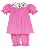 Anavini Baby / Toddler Girls Pink Corduroy Smocked Nutcracker Pantaloons Set