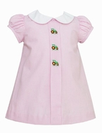 Anavini Baby / Toddler Girls Pink Gingham Embroidered Green Tractors Dress