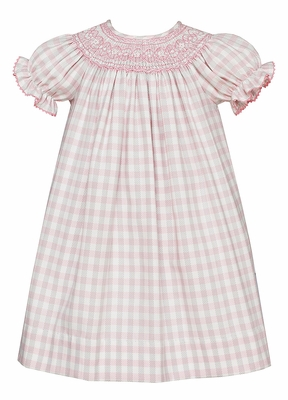Anavini Baby / Toddler Girls Pink / Grey Plaid Smocked Bishop Dress