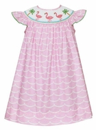 Anavini Baby / Toddler Girls Pink Waves Smocked Flamingo Bishop Dress