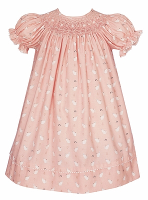 Anavini Baby / Toddler Girls Pink / White Kitty Cats Print Smocked Bishop Dress