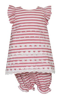 Anavini Baby / Toddler Girls Raspberry Pink Striped Embroidered Eyelet Bloomers Set