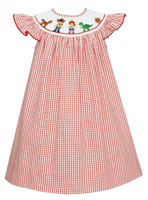 Anavini Baby / Toddler Girls Red Check Smocked Story Book Toy Friends Bishop Dress