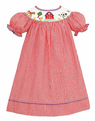 Anavini Baby / Toddler Girls Red Check Smocked Farm Animals Dress - Bishop