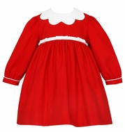 Anavini Couture Baby / Toddler Girls Red Christmas Float Dress - White Scallop Collar