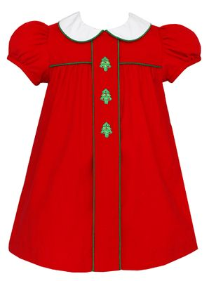 Anavini Baby / Toddler Girls Red Corduroy Christmas Tree Float Dress