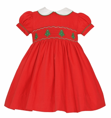 Anavini Baby / Toddler Girls Red Corduroy Dress - Smocked Christmas Trees - Float Dress