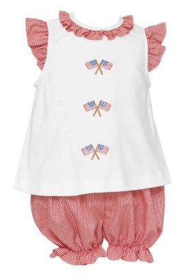 Anavini Baby / Toddler Girls Red Check Flags Bloomers Set