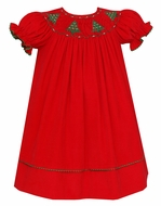 Anavini Baby / Toddler Girls Red Corduroy Smocked Christmas Trees Dress - Bishop