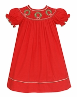 Anavini Baby / Toddler Girls Red Corduroy Smocked Christmas Wreaths Bishop Dress