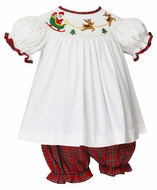 Anavini Baby / Toddler Girls Red Holiday Plaid Bloomer Set - Smocked Santa Sleigh