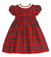 Anavini Baby / Toddler Girls Red Holiday Plaid Smocked Float Dress - Ruffle Neckline