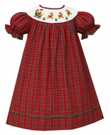 Anavini Baby / Toddler Girls Red Holiday Plaid Smocked Santa Sleigh Dress - Bishop