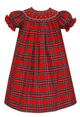 Anavini Baby / Toddler Girls Red Holiday Plaid Smocked Christmas Dress - Bishop