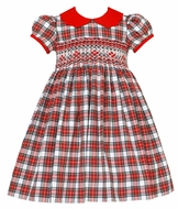 Anavini Couture Baby / Toddler Girls Red / White Holiday Plaid Dress - Scallop Collar