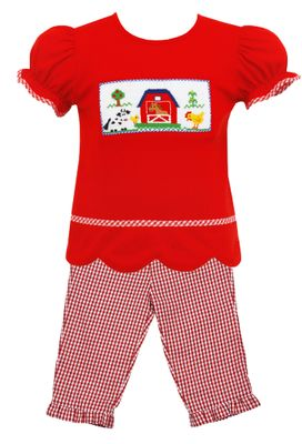 Anavini Baby / Toddler Girls Red Scallop Smocked Farm Top with Check Ruffle Pants