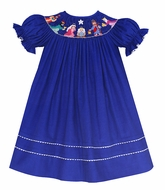 Anavini Baby / Toddler Girls Royal Blue Corduroy Smocked Nativity Manger Scene Dress - Bishop