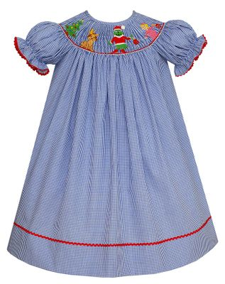 Anavini Velani Baby / Toddler Girls Royal Blue Check Smocked Grinch Dress - Bishop